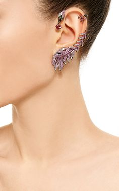 Pink Sapphire And Diamond Feather Earring by Wendy Yue for Preorder on Moda Operandi