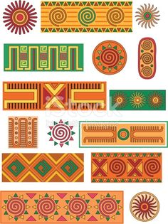 A selection of Mexican influenced patterns, motifs and borders.