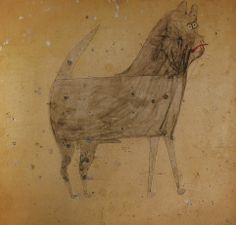 Bill Traylor (1854-1949). Brown Dog. Watercolour and Pencil on Cardboard. Circa 1939-1942.