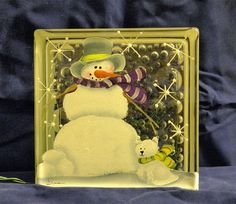 Snowman with CatGlass Block Light by bestemancreations on Etsy,