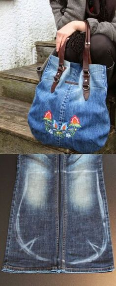 Good Photographs Jeanstaschen - Thoughts I love Jeans ! And even more I love to sew my own, personal Jeans. Next Jeans Sew Along I'm like Jean Crafts, Denim Crafts, Denim Ideas, Old Shirts, Recycled Denim, Handmade Bags, Handmade Leather, Vintage Leather, Diy Fashion