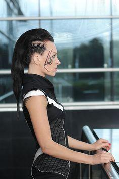 Futuristic fashion, cyberpunk dress, little black dress, futuristic make up and hair, black and white ZOLNAR