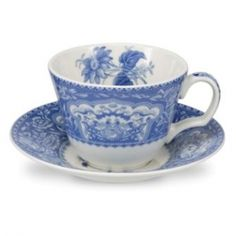 Spode Blue Room Cup and Saucer Floral