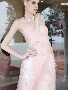 Wide Strap One Shoulder Light Pink Formal Evening Gown