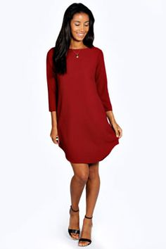 Holly Curved Hem Woven Shift Dress at boohoo.com another possible option for Christmas Day