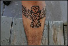 Tribal looking black Barn Owl Tattoo by amkhosla, Sharon Macdonald Singletary this would look cool as a part of a totem pole Feather Tattoo Design, Owl Tattoo Design, Feather Tattoos, Nature Tattoos, Flower Tattoo Designs, Leg Tattoos, Small Tattoos, Tattoos For Guys, Sleeve Tattoos