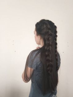 Long Hair with Two Braids Pretty Hairstyles, Braided Hairstyles, School Hairstyles, Prom Hairstyles, Hairstyle Ideas, Quinceanera Hairstyles, Braided Updo, Two Braids, Dutch Braids