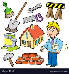 Home improvement collection Stockfoto © clairev Home Improvement Grants, Home Improvement Projects, Handyman Logo, Logos Retro, Community Helpers, Home Repair, Kids Education, Easy Projects, Preschool Activities