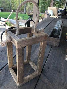DIY Rustic Wood Lantern - The Little Frugal House diy beginner diy pallet diy projects diy rustic diy woodworking Barn Wood Projects, Diy Projects, Outdoor Projects, Project Ideas, Wooden Lanterns, Candle Lanterns, Easy Woodworking Projects, Woodworking Plans, Woodworking Classes