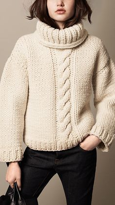 Natural white Alpaca Wool Cable Knit Roll Neck Sweater -Burberry