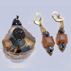 Champagne Glass Glittery Pendant & Earring Set