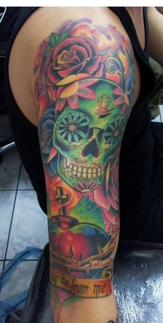 Skull full color tattoo - http://tattooloverscentral.com/skull-full-color-tattoo/