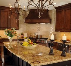 Tuscan Kitchen Love the Granite Like the colors and the backsplash..... Look at that counter top... I like this color a lot!
