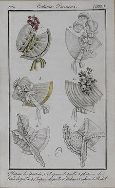 1816. I love the ribbon threaded through slits in the velvet on the upper left  bonnet.