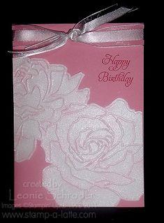 SU! Manhattan Rose embossing folder and Vanilla Shimmer Smooch Spritz - Leonie Schroder