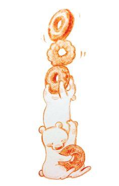 ドーナツくま Food Illustrations, Cute Drawings, Food Art, Donuts, Bears, Notebook, Sweets, Symbols, Colorful