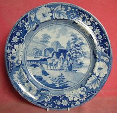 Antique c.1830 Family and Mule Blue and White Transferware