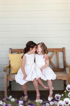 Silly flower girls! http://www.stylemepretty.com/california-weddings/sebastopol/2014/10/24/california-wine-country-wedding-at-vine-hill-house/ | Photography: Christina McNeill - http://www.christinamcneill.com/