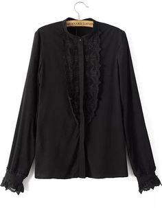 Black Stand Collar Lace Loose Blouse 21.00