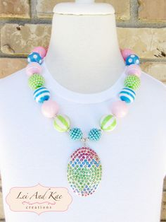 Easter Egg Rhinestones Chunky Bubble Gum Necklace - Photo Prop Fashion Accessory