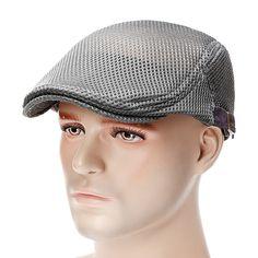 8cc1fbd6 Men Summer Mesh Beret Cap Breathable Visor Flat Hat Adjustable Solid Color  Newboy Hat Cheap -