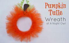 DIY Pumpkin Tulle Wreath @A Night Owl Blog