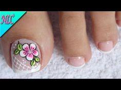 Flower Nail Designs, Toe Nail Designs, Pedicure Nail Art, Toe Nail Art, Gorgeous Nails, Pretty Nails, Flamingo Nails, Cute Toe Nails, Flower Nails