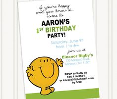 Mr. Happy Mr. Men Birthday Invitation