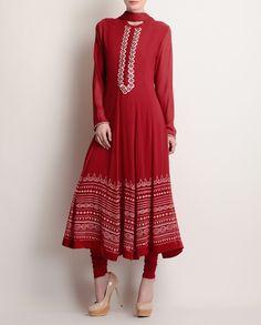 Deep Red Anarkali Suit