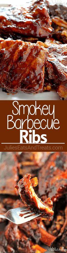 Smokey Barbecue Ribs ~ Smokey, Tender Ribs Loaded in a Homemade Barbecue Sauce! Barbecue Ribs, Ribs On Grill, Pork Ribs, Bbq Beef, Barbecue Chicken, Rib Recipes, Grilling Recipes, Cooking Recipes, Barbecue Recipes