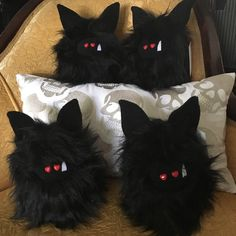 Limited Edition Goth/Halloween Fuzzlings.  Only four were created so act quick if you want to adopt one of these spooky monsters!