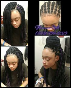 All styles of box braids to sublimate her hair afro On long box braids, everything is allowed! For fans of all kinds of buns, Afro braids in XXL bun bun work as well as the low glamorous bun Zoe Kravitz. Box Braids Hairstyles, My Hairstyle, African Hairstyles, Pretty Hairstyles, Girl Hairstyles, Hairstyles Pictures, Hairstyles 2018, Protective Hairstyles, Curly Hair Styles
