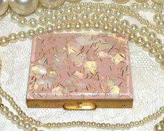 Vintage Powder Compact Mirror Case Pink Lucite MOP Confetti Compact S F Co Fifth Ave Powder Compact