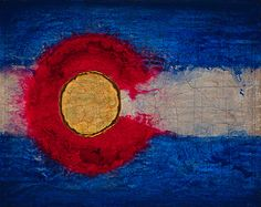"""Daily Painters Abstract Gallery: Contemporary Map Art, Colorado Map """"COLORADO FLAG/MAP """" by Contemporary Artist Brian Billow"""