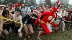 Trevor Olson, 44, dressed as the Flash in 2003. He has won the 100-yard race portion of Vancouver's Polar Bear Swim 7 times.