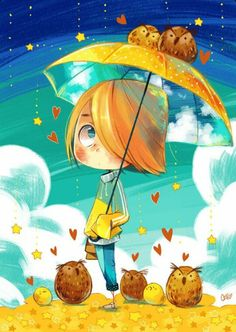 Little girl under an umbrella.   For similar pins please follow me at - https://www.pinterest.com/annelouise1959/illustrations/
