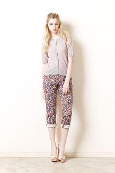jaquard knit flower pants