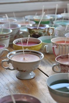 A great way to use china from estate sales (we all know it's never-ending!) Use them to make candles!