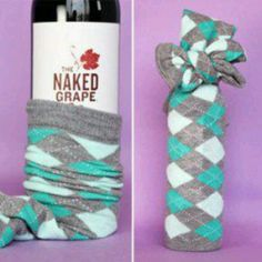 Wine and socks! A great little gift idea!