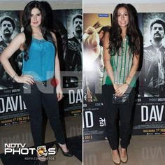 Cool and casual: Zarine Khan and Monica Dogra, who stars in the film David.