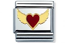 Nomination stainless steel and 18ct gold Red Heart with Wings Classic Charm with Enamel