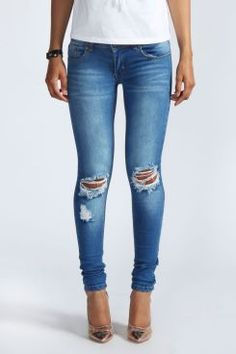 Loren Distressed Rip Knee Skinny Jeans