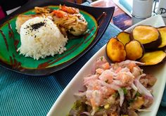 Grilled fish and tuna ceviche with sweet potato chips... #Food from Easter Island!
