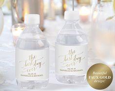 Faux Gold Wedding Water Bottle Label Labels