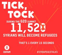 During the G20 Summit in St. Petersburg, Russia, approximately 11,250 Syrians will become refugees. It's high time for #SyriaPeaceTalks now! http://www.change.org/petitions/don-t-let-syria-down