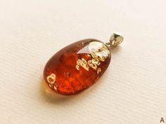 Natural amber perfect drop pendant bright clear cognac color | Etsy
