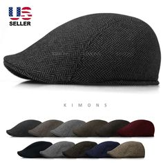 Wool Herringbone Newsboy Gatsby Cap Ivy Hat Golf Mens Flat Cabbie Stripe #Kimons #NewsboyCabbie