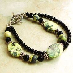 Handmade Double Strand Yellow Turquoise Black Onyx Bali Sterling Silver Bracelet