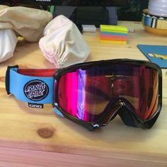 Special edition Santa Cruz Giro goggles Never been warn! Cylindrical lens goggles with Santa Cruz/eyeball strap. Low light lens great for foggy or cloudy days. giro Jackets & Coats
