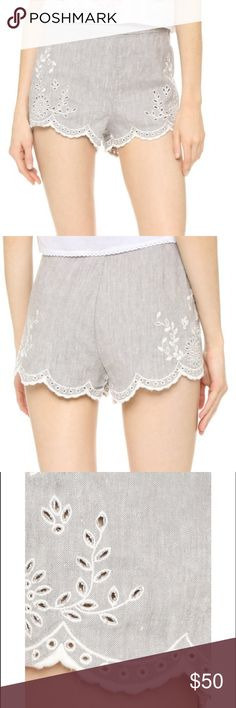 """Free People """"Lifes Too Short"""" shorts size 8 Super cute grey linen Free People shorts with eyelet detail in white. Size 8. 60% linen 38% cotton 2% spandex Free People Shorts"""